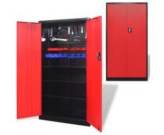 VIDAXL Armario de metal para herramientas 180 cm (Rojo y negro) - VIDAXL