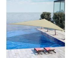 OUTSUNNY Toldo Vela 4x4x4m Triangulo Color Crema Sombrilla Parasol Terraza Jardin Camping