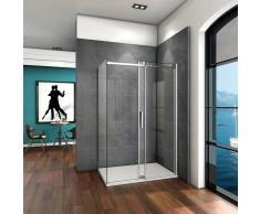 AICA SANITAIRE Mamparas de ducha cabina de ducha 6mm vidrio templado de Aica 140x70x195cm