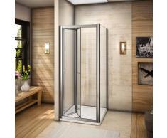 AICA SANITAIRE Mamparas de ducha cabina de ducha plegable puerta + lateral fijo vidrio