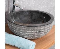 WANDA COLLECTION lavabo sobre encimera redondo de piedra VESUBIO negro 40 cm