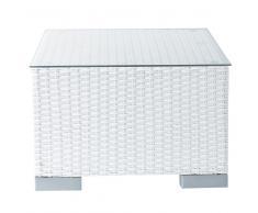 Mesa auxiliar de jardín de resina trenzada blanca L. 55cm Antibes