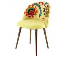 Silla vintage de algodón bordado amarillo y madera de sisu Mauricette