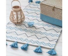 Alfombra de algodón beis con motivos azules 50x80cm TROPEZ