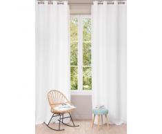 Cortina con ojales de lino lavado blanco 130 x 300cm