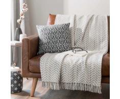 Colcha 100% algodón con espiguillas grises y franjas 160x210 cm SVELTAN