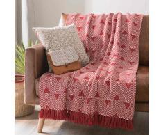 Colcha de algodón blanco/rojo con franjas 160x210 cm