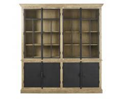 Doble vitrina con 4 puertas gris y negra Voltaire