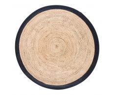 Alfombra redonda trenzada de yute con contorno negro D180