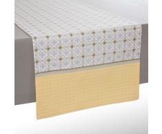 Camino de mesa de algodón amarillo/gris L 150 cm OEIRAS