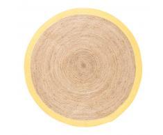 Alfombra redonda trenzada de yute con contorno amarillo D180