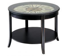 Mesa baja reloj de madera negra An. 72cm Teatime