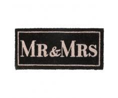 Felpudo en fibra de coco negro MR & MRS