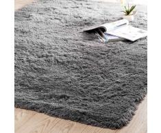 Alfombra de pelo largo de tela gris 160 x 230cm INUIT