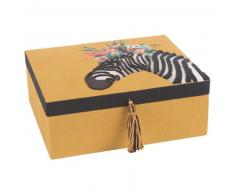 Joyero amarillo mostaza con bordado de cebra