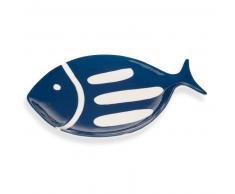 Fuente de pescado de loza azul marino OLERON