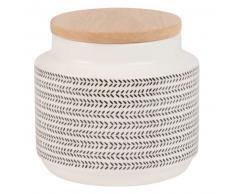 Tarro de loza con motivos decorativos y tapa de bambú Alt.12