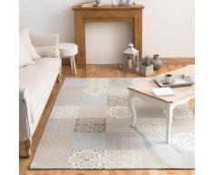 Alfombra con motivos de azulejos de cemento beis y azules 200x300 cm PROVENCE