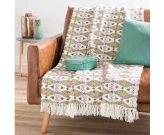 Colcha verde de algodón con flecos 160 x 210 HANOI