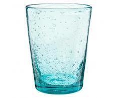 Vaso de cristal con burbujas azul MINT