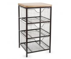 Mueble con 3cajones de metal Al. 65cm WOODY