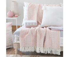 Colcha de algodón beis con motivos de jacquard 160x210 cm RYANA