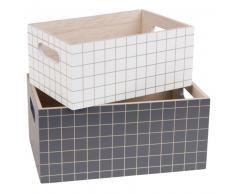2 cajas de almacenaje con motivos de azulejos blancos y negros
