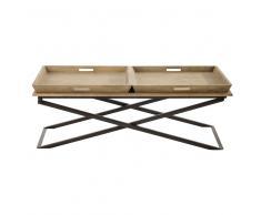Mesa baja de madera de mango y metal An. 120cm Hippolyte