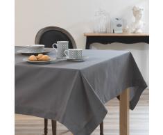 Mantel cuadrado liso de algodón gris antracita 170 x 170 cm