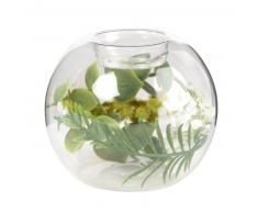 Candelabro tarro de cristal con decoración de plantas artificiales