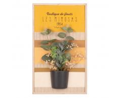 Cuadro de paulonia con estampado y planta artificial 22x28