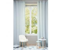 Cortina con ojales de lino lavado azul glaciar 130 × 300cm