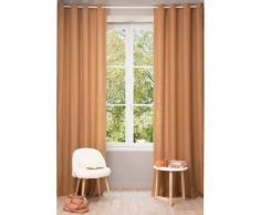 Cortina con ojales de lino lavado naranja zorro 130 × 300cm