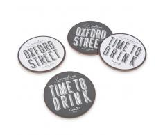 4 posavasos de madera D 10 cm OXFORD STREET