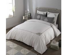 Juego de cama 220 × 240cm de algodón blanco/gris COLETO