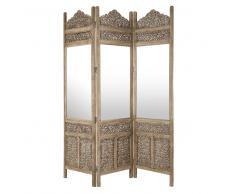 Biombo espejo de madera tallada An. 153cm SURABAYA
