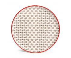 Plato de postre de loza rojo/negro SEVILLE