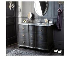 Mueble de lavabo de madera negra y piedra L 117 cm Eugenie