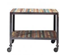 Mesa auxiliar con ruedas de madera multicolor An. 45 cm Bahia