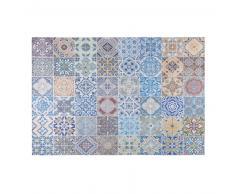 Alfombra de tela con motivos de azulejos de cemento multicolores 140x220 cm CAPRI
