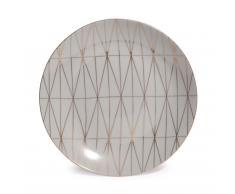 Plato de postre de porcelana gris D 20 cm OPALE