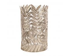 Candelabro de cristal y hojas de metal dorado