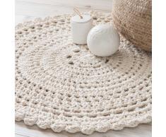 Alfombra redonda de algodón color crudo D.90 cm CROCHET