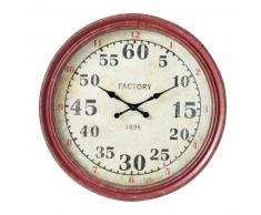 Reloj rojo industrial de metal Diám. 90cm FLEISHER
