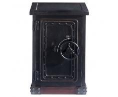 Cajonera caja fuerte de madera negra efecto envejecido An. 53 cm Bank