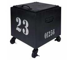 Mesa auxiliar con ruedas de metal negro SWANN
