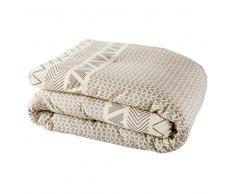 Colcha de algodón con motivos gráficos grises 100x200