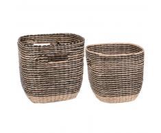 2 cestas cuadradas de fibra vegetal