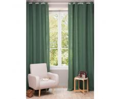 Cortina con ojales de lino lavado verde pino 130 × 300cm