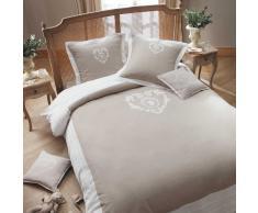 Juego de cama 220 x 240cm de algodón beis CAMILLE